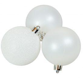 Műanyag gömb téli fehér 6cm 10db-os