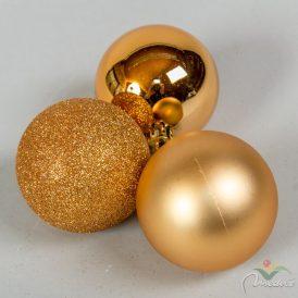 Műanyag gömb réz arany 6cm 10db-os