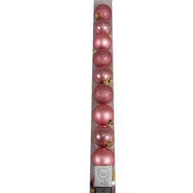 Műanyag gömb bársony rózsaszín 6cm 10db-os