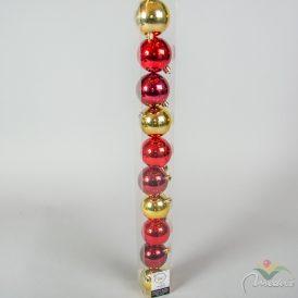 Műanyag gömb piros,bordó, arany mix 6cm 10db-os