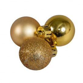 Műanyag gömb világos arany 3cm 14db-os