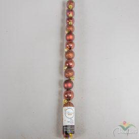 Műanyag gömb rózsafa 3cm 14db-os