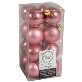 Műanyag gömb bársony rózsaszín 4cm 16db-os