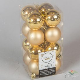 Műanyag gömb világos arany 4cm 16db-os