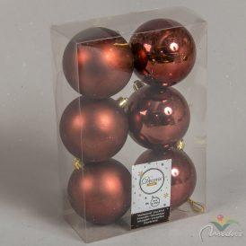 Műanyag gömb rózsafa 8cm 6db-os