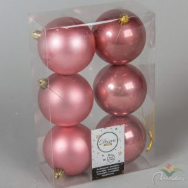 Műanyag gömb bársony rózsaszín 8cm 6db-os