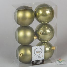 Műanyag gömb moha zöld 8cm 6db-os