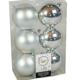 Műanyag gömb ezüst 8cm 6db-os