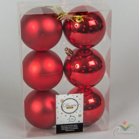 Műanyag gömb piros 8cm 6db-os