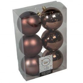Műanyag gömb sötét barna 8cm 6db-os
