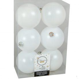 Műanyag gömb téli fehér 8cm 6db-os