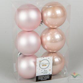 Műanyag gömb rózsaszín 8cm 6db-os