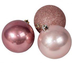 Műnyag gömb rózsaszín 8cm 6db-os