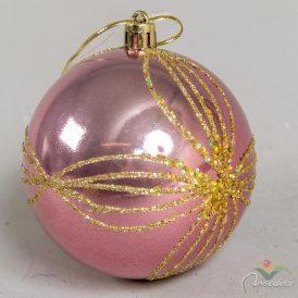Arany mintás műanyag gömb bársony rózsaszín 8cm
