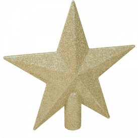 Csillag csúcsdísz glitteres arany 19cm