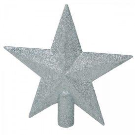 Csillag csúcsdísz glitteres ezüst 19cm