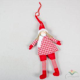 Piros ruhás akasztós textil lányka 32cm