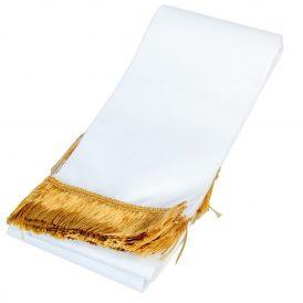 Koszorú szalag 12x220cm fehér-arany 10db/csom (db ár)