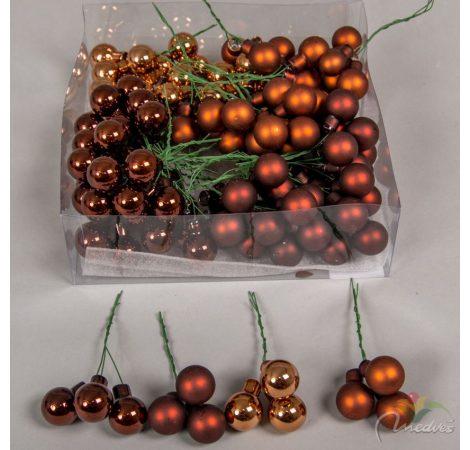 Üveggömb 20mm  barna fényes/matt 144db/doboz