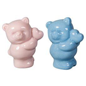 Porcelán maci szívvel fényes M7cm