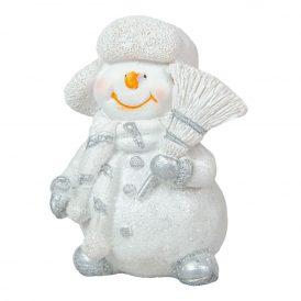 Hóember seprűvel ker. fehér M8cm