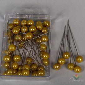 Tű fém gyöngyös gold 10x60mm 50db-os
