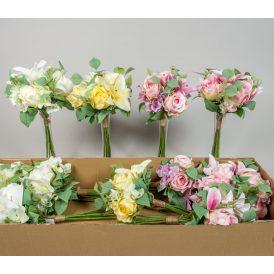 Rózsa,liliom,hortenzia köteg M38cm 12db/#