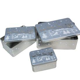 Szarvas mintás fém doboz szett 15-20-25cm 3db-os