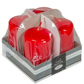Lakkozott adventi gyertya 70x40mm piros 4db/csom (db ár)