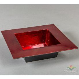 Műanyag peremes tál  négyzet piros 20*20cm