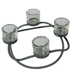 Fém adventi alap 4-es üveg betéttel D28cm