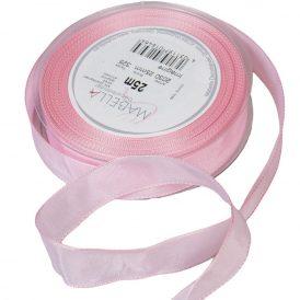 Textil szalag hagyományos drótos világos rózsaszín 25mmx25m