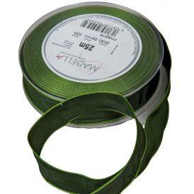 Textil szalag hagyományos drótos olaj zöld 25mmx25m