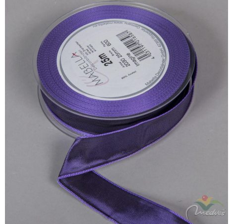 Textil szalag hagyományos drótos sötét lila 25mmx25m
