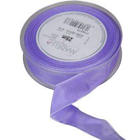 Textil szalag hagyományos drótos világos lila 25mmx25m