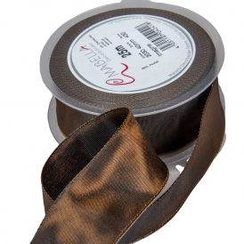 Textil szalag hagyományos drótos barna 40mmx25m