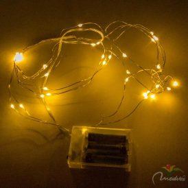 40 LED-es ezüst drótkábeles korbács elemes (elem nékül) meleg