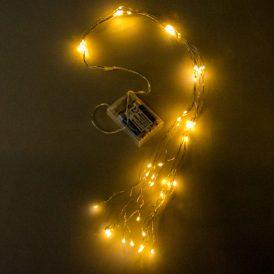 80 LED-es ezüst drótkábeles flash korbács elemes (elem nélkül) meleg