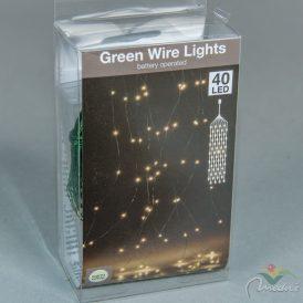 40 LED-es zöld drótkábeles korbács elemes (elem nélkül) meleg