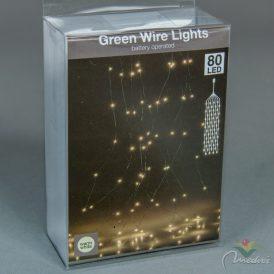 80 LED-es zöld drótkábeles korbács elemes (elem nélkül) meleg