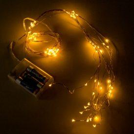 80 LED-es arany drótkábeles korbács elemes (elem nélkül) extra meleg