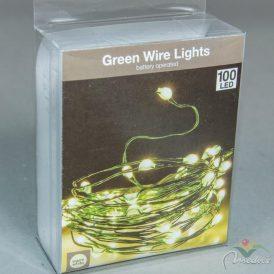 100 LED-es zöld drótkábeles fényfüzér elemes (elem nélkül) meleg
