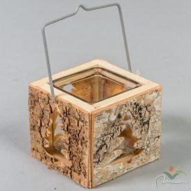 Gyertyatartó fa üveg betéttel, füllel M9cm
