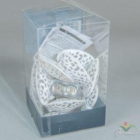 10 LED-es fém szív fénysor elemes (elem nélkül) meleg