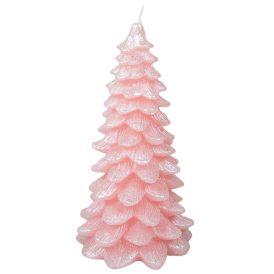 Fenyő gyertya rózsaszín 18cm