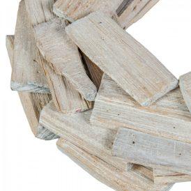 Koszorú alap fadarabokból fehér D30cm