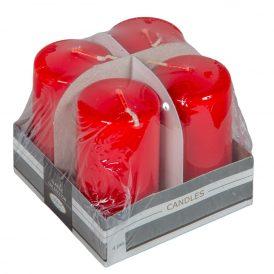 Lakkozott adventi gyertya 80x40mm piros 4db/csom (db ár)