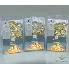 10 LED-es arany gömb füzér elemes (elem nélkül) meleg