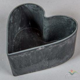Szív alakú műanyag tál szürke 15x16x7cm
