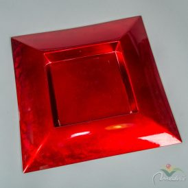 Szögletes műanyag tál piros 40x40cm